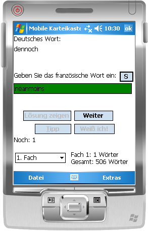 Mobile Karteikasten Screenshot auf PDA